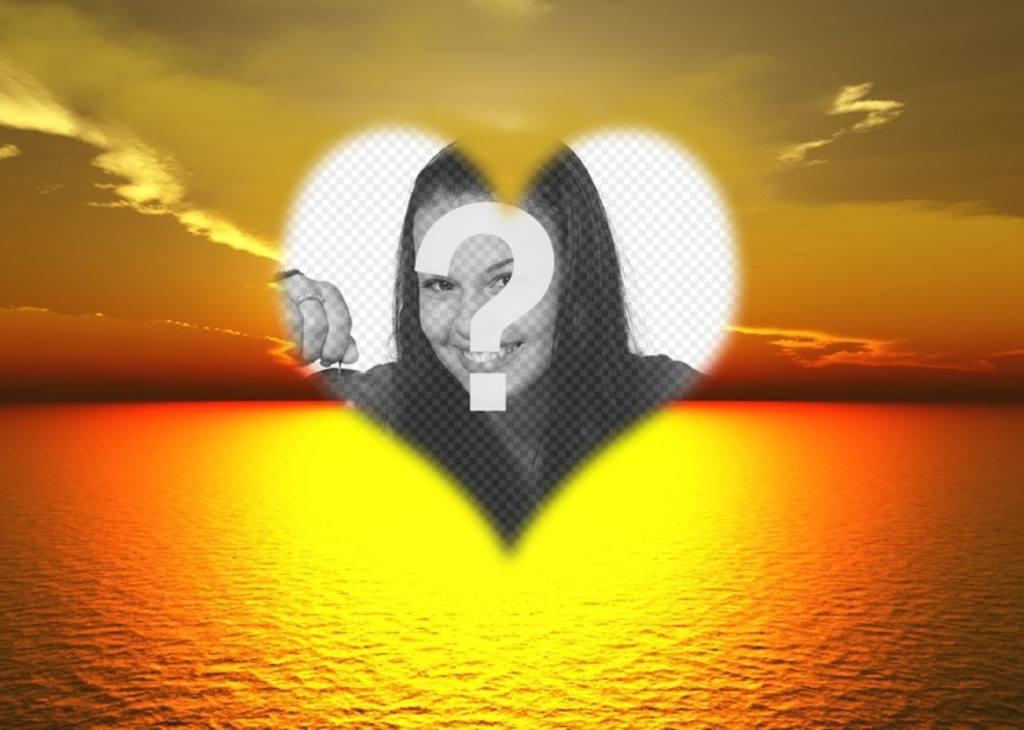 foto montaje podras poner foto fondo un bonito atardecer mar un marco forma corazon