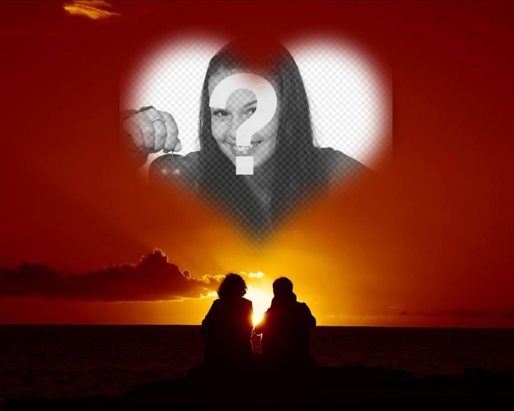 Collage de amor en forma de corazón, una pareja y puesta de sol ...