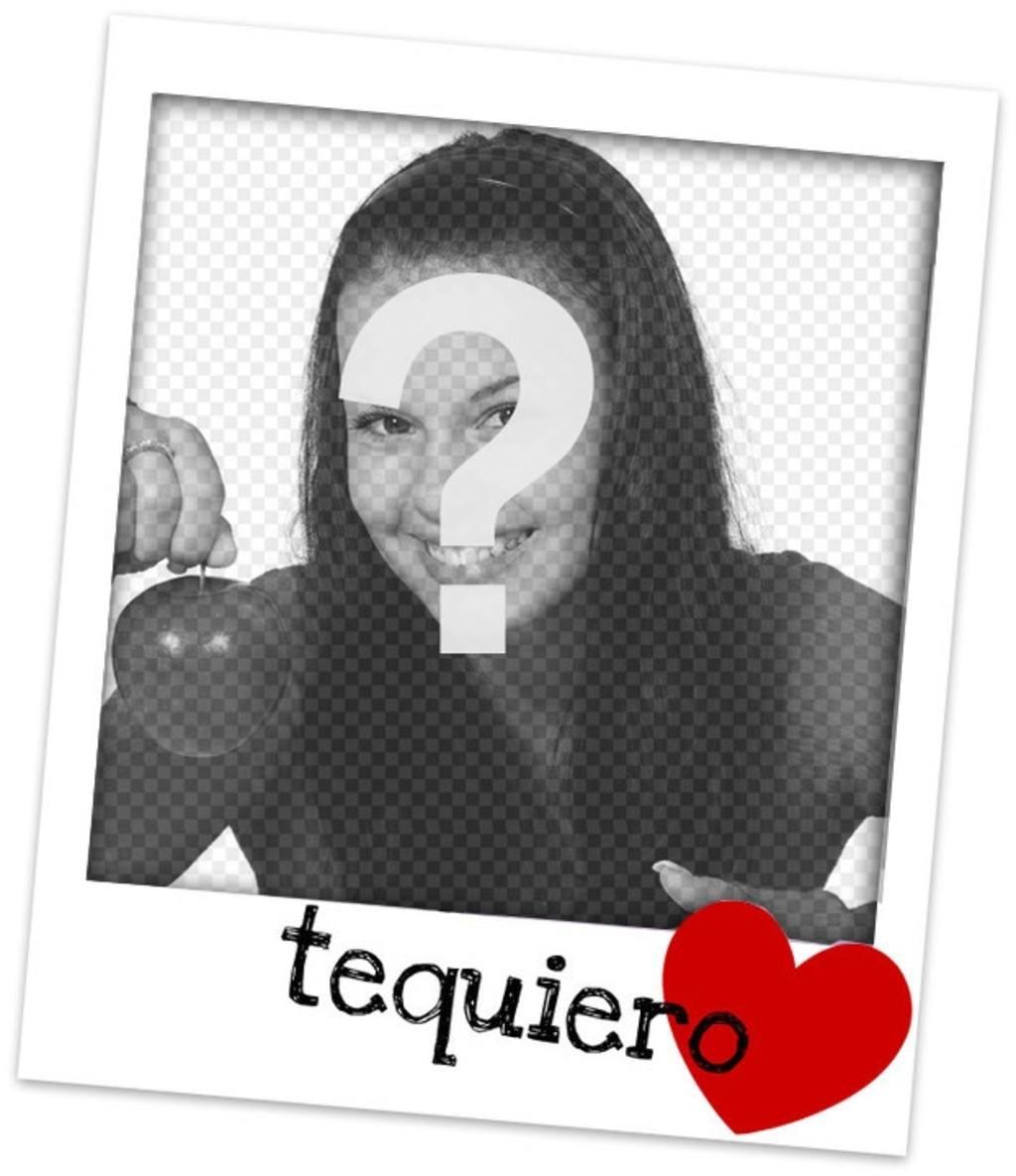 Marco con dobles bordes. Montaje fotográfico en el que acompañan a tu fotografía un te quiero y un corazón color rojo, sobre un fondo blanco
