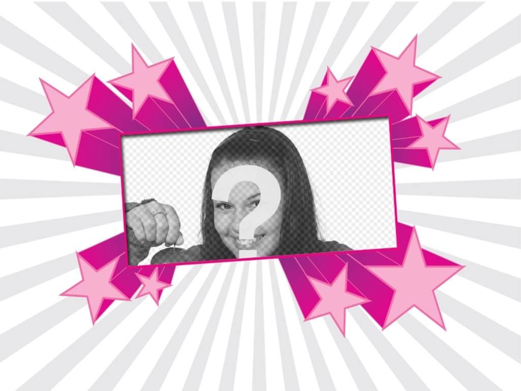 Marco para fotos color fucsia con formas de estrellas - Colocar fotos en pared ...