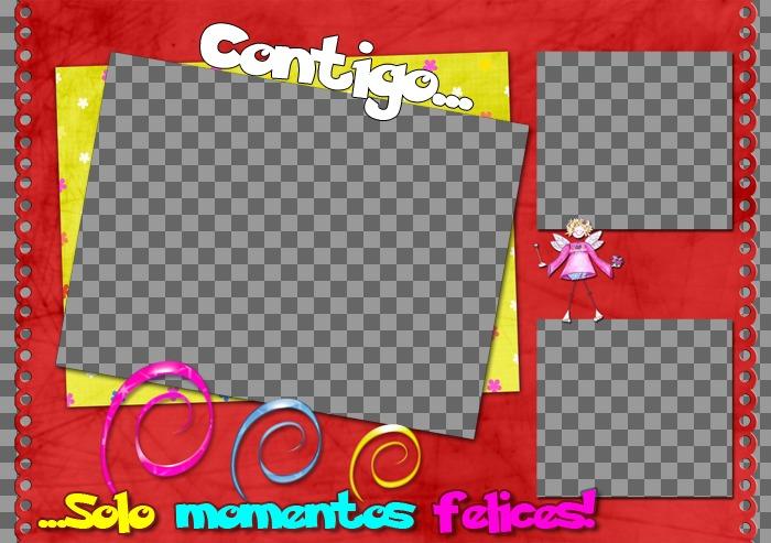 trata un marco tres fotos apariencia simple lograda colorida