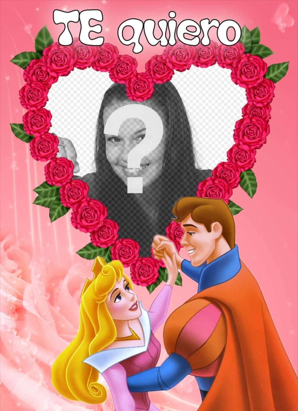 Marco para poner tu foto, de corazón formado por rosas y un príncipe ...