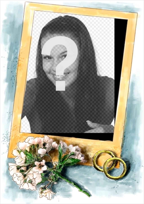 marco fotos boda acompanan marco oro un sencillo ramo flores rosa anillos oro fondo azul