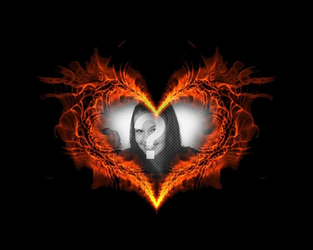 marco fotos forma corazon ardiendo podras poner foto fondo