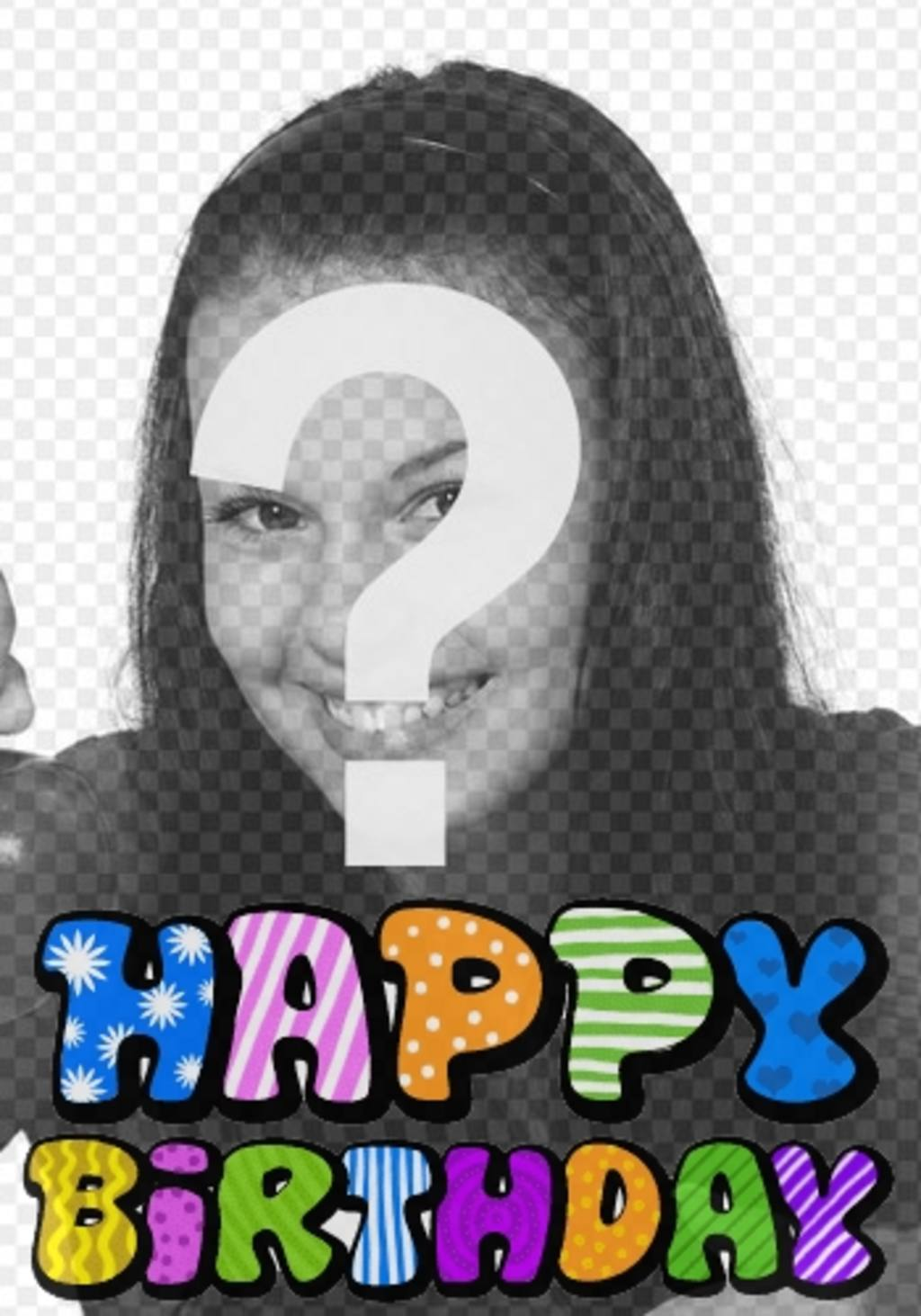 fotomontaje postal cumpleanos texto happy birthday animado