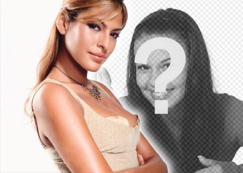 Plantilla para tu fotomontaje para ponerte al lado de Eva Mendes, modelo y actriz. Es muy fácil!