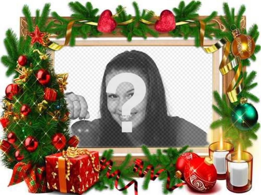 Un marco para fotos con adornos navideños - Fotoefectos