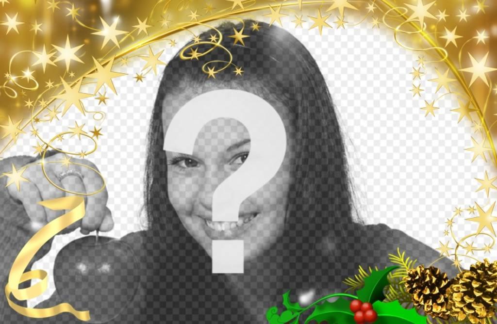 Marco para fotos festivo de estrellas doradas con adorno navideño. Para personalizar tus fotografías estas fiestas