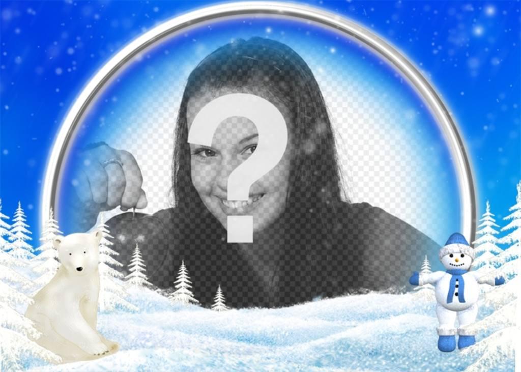 montaje fotos poner foto un oso polar un muneco nieve preceden fotografia