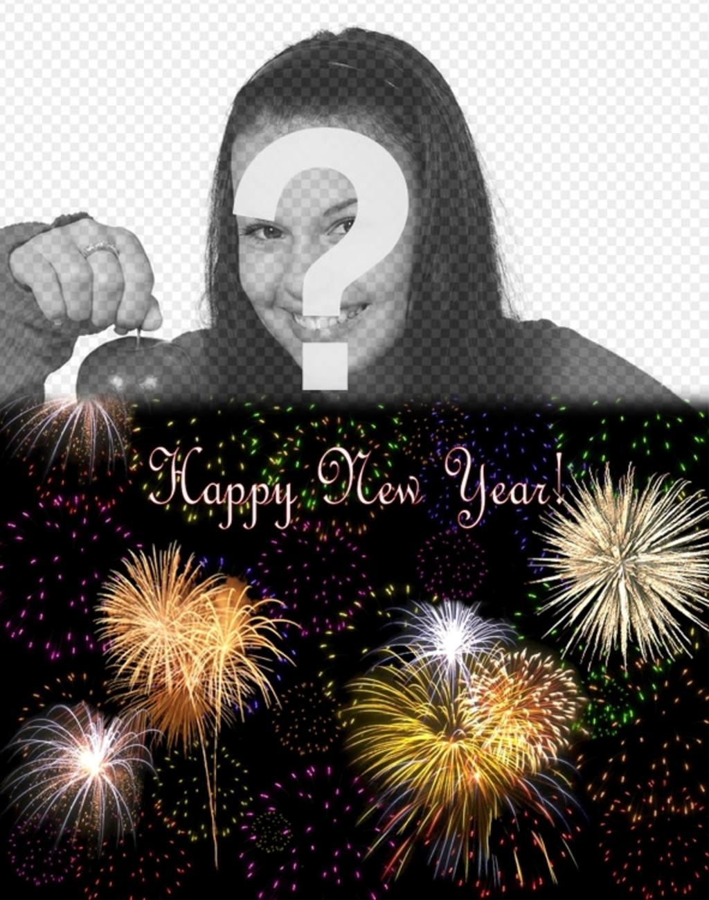 Postal navideña que nos felicita el año nuevo en inglés en la que podemos poner nuestra foto