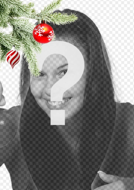Postal / marco para fotos navideña donde poner una imagen. Efecto de curvas realzado sobre fondo negro
