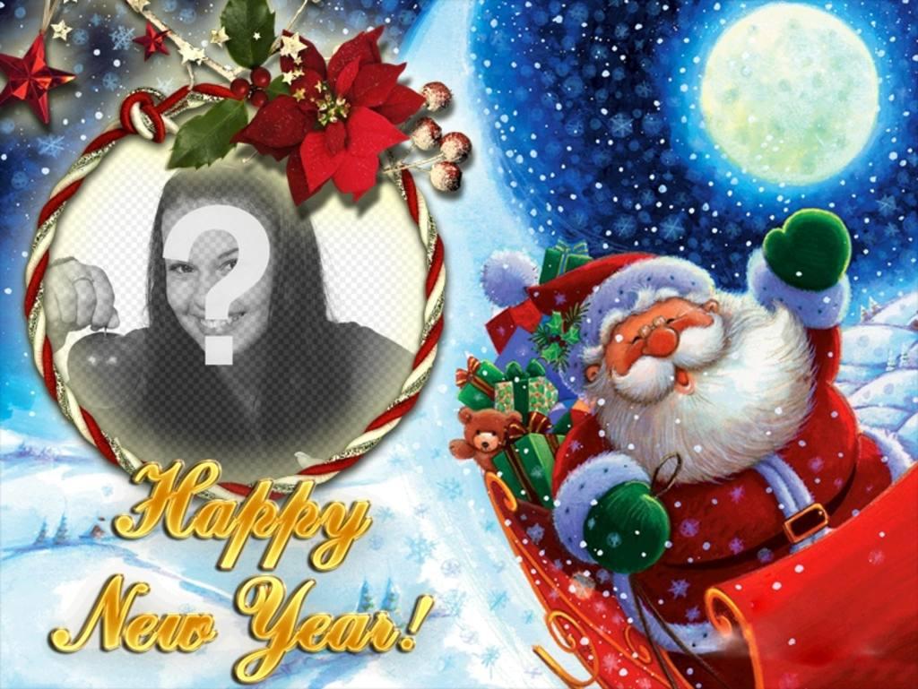 fotomontaje poner foto un marco redondo forma lazo papa noel felicita ano nuevo