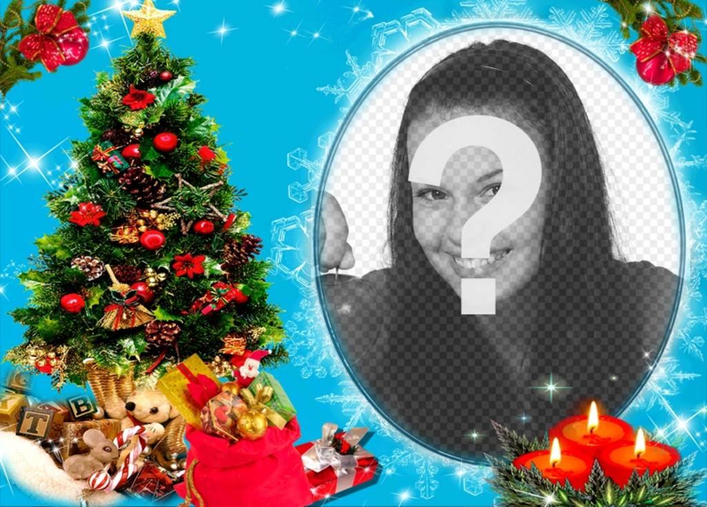 foto un marco circular lado un arbol navidad lleno regalos detras tres velas dibujadas fondo azul efectos brillo