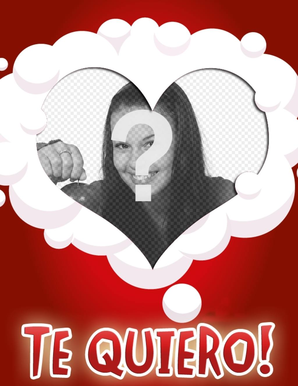 Haz una postal de amor con tu foto y este marco en forma de corazón, rodeado de nubes blancas sobre un fondo rojo