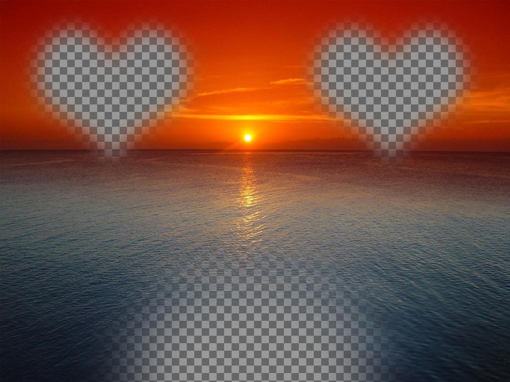 Postal para hacer online de una puesta de sol de cielo naranja sobre un mar azul