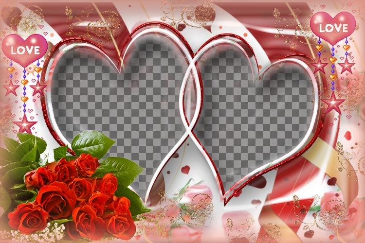 imagen de rosas y corazones
