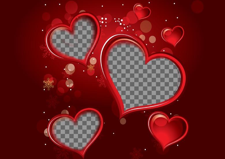 Marco color rojo para una fotografía digital que aparecerá dentro de tres corazones. Complementa tu regalo de San Valentín con este detalle lleno de amor