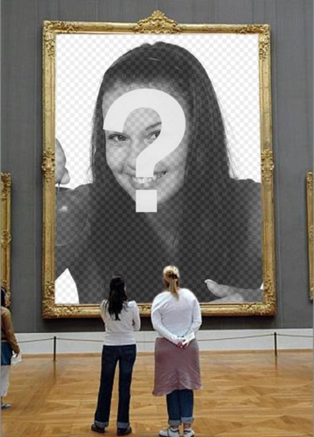 fotomontaje poner foto un cuadro un museo observado chicas