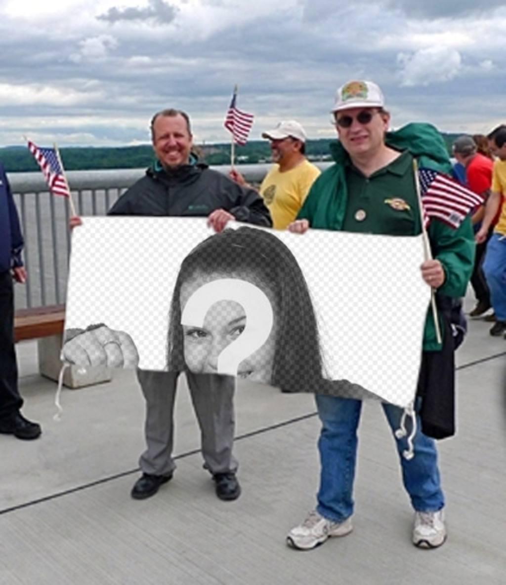 fotomontaje poner foto pancarta sujetando unos fans estados unidos