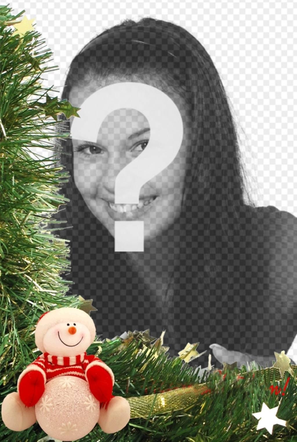 Tarjeta de Navidad con adornos y muñeco de nieve para poner tu foto