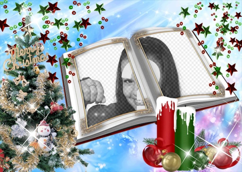 tarjeta navidad un montaje forma libro adornos