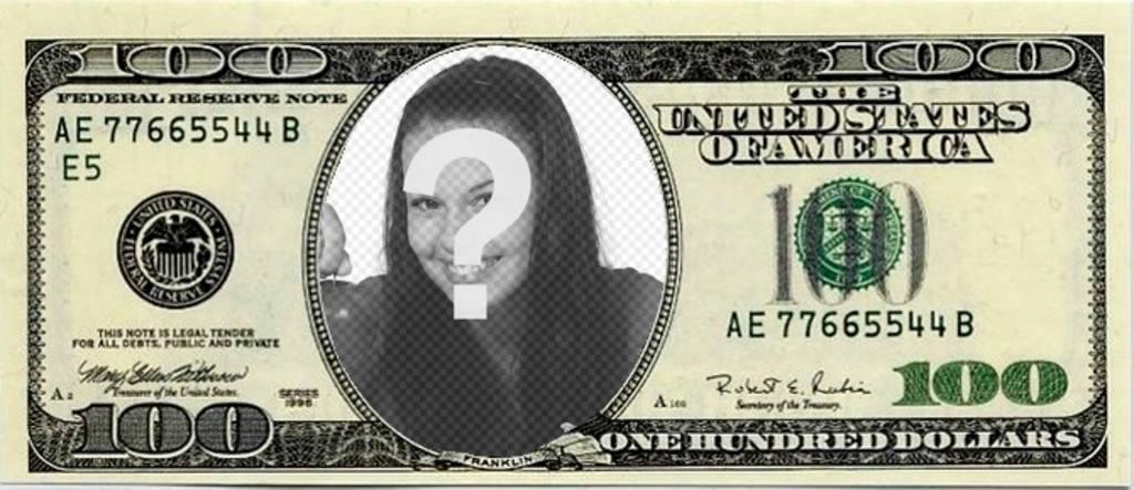 Foto montaje de billete de 100 dólares para poner tu foto y sorprender a tus amigos