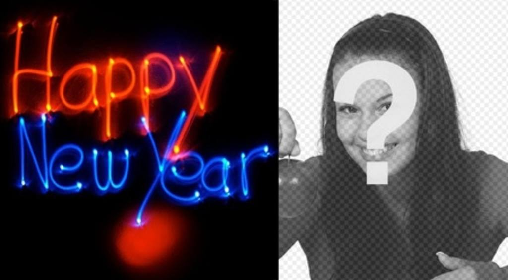 Felicita el nuevo año con una animación con letras de neón con tu foto de fondo
