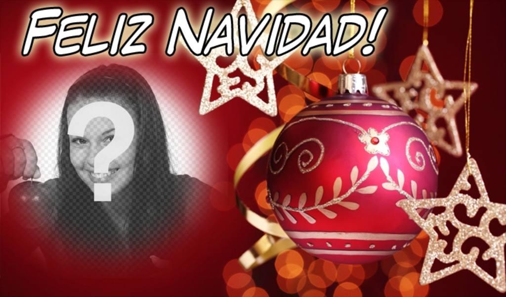 tarjeta navidad poner foto fondo texto feliz navidad fondo rojo bola adorno