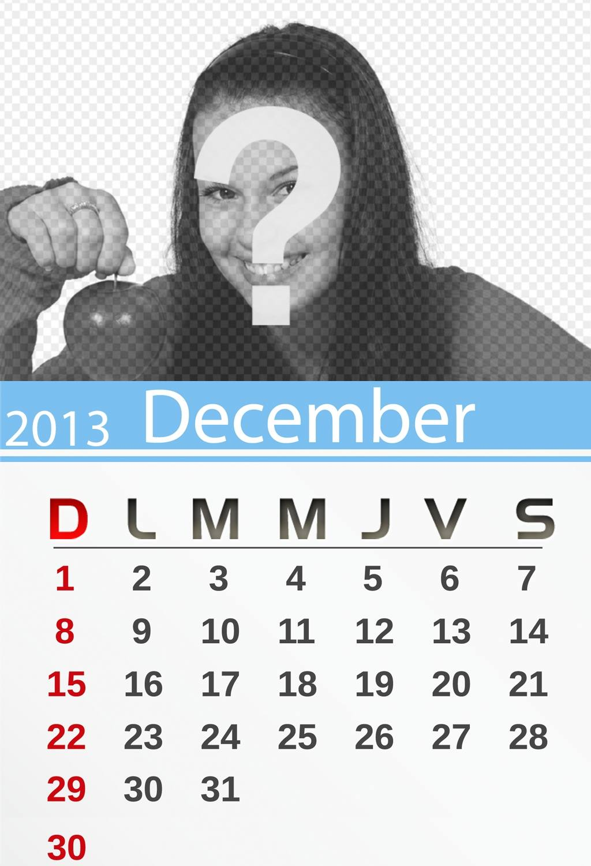 calendario diciembre 2013 personalizable foto imprimirenglish