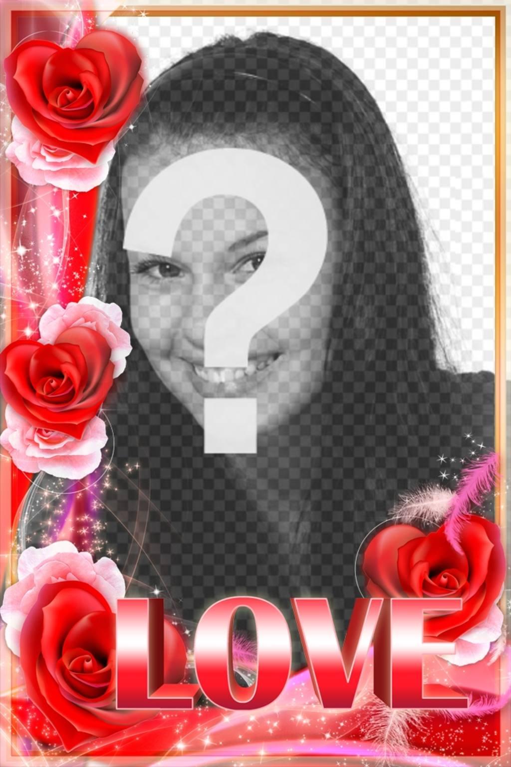 marco fotos amor borde rosas palabra love grande fotos