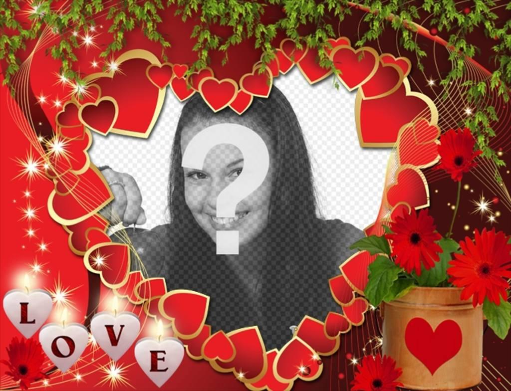 postal amor corazones texto love poner foto online