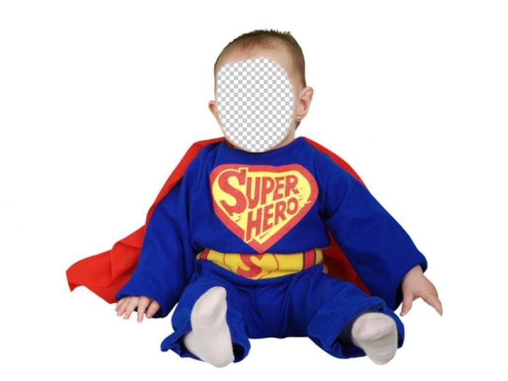 Disfraza a tu bebé con este tierno fotomontaje de Superhéroe azul con capa roja