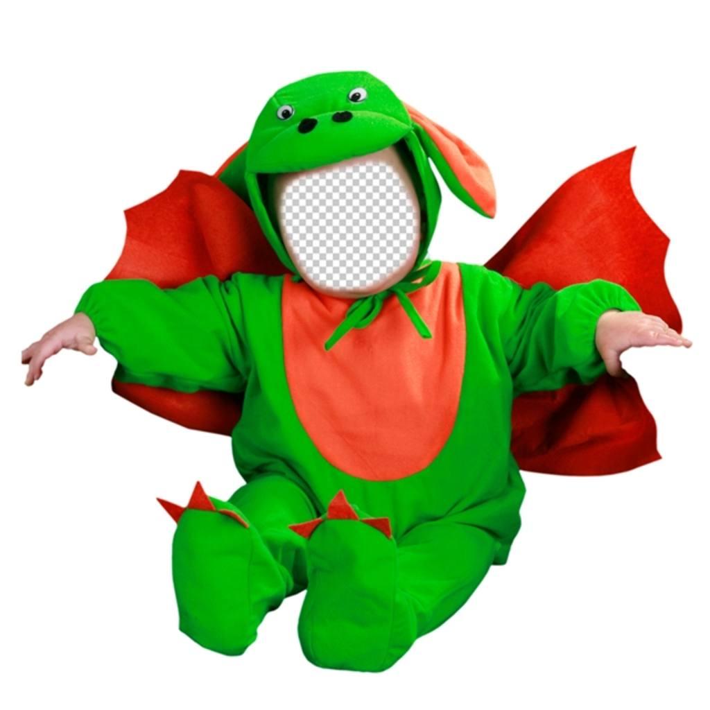 Fotomontaje para editar un disfraz de dragón verde con tu foto