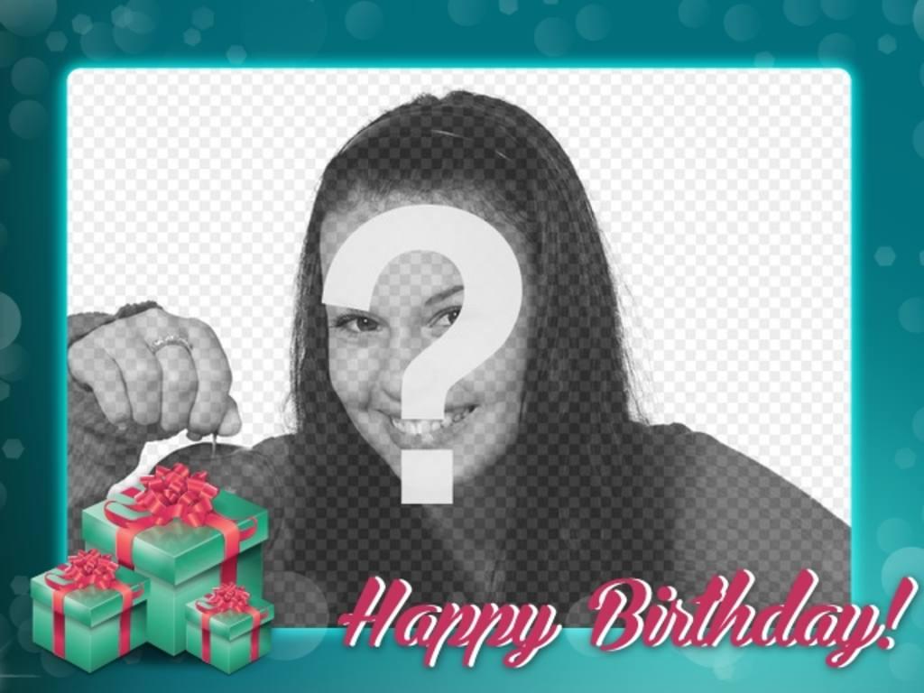 Postal de cumpleaños con marco turquesa para felicitar el cumple a ...