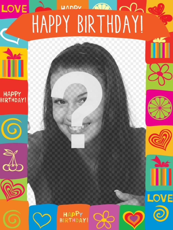Con este marco podrás crear una postal de cumpleaños divertida con ...