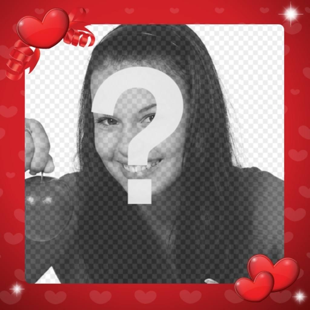 Marco para decorar fotos de amor de color rojo y con corazones ...