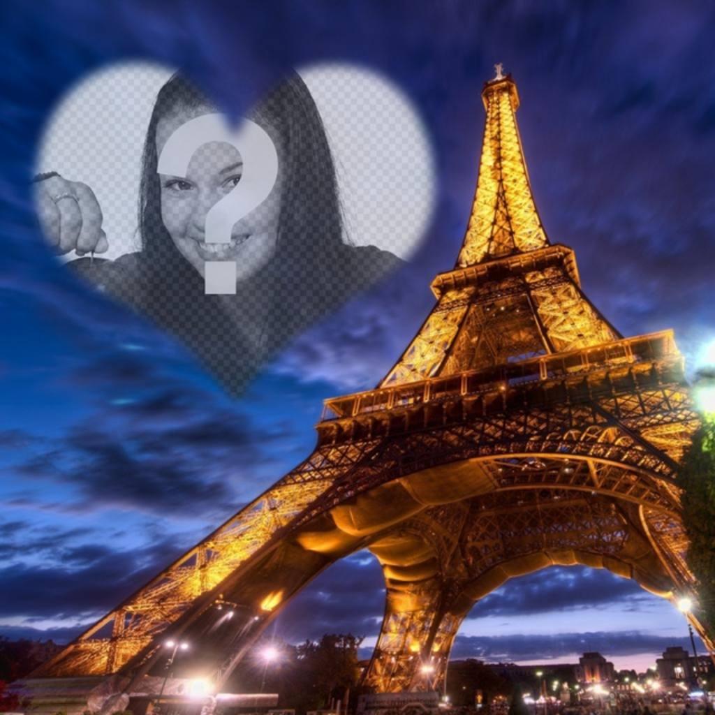 fotomontaje paris torre eiffel iluminada un marco cielo forma corazon semitransparente colocar foto