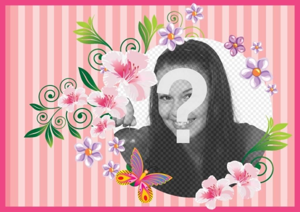 Postal para el día de la madre con fondo rosa con flores y mariposas para customizar con foto y texto para felicitarla