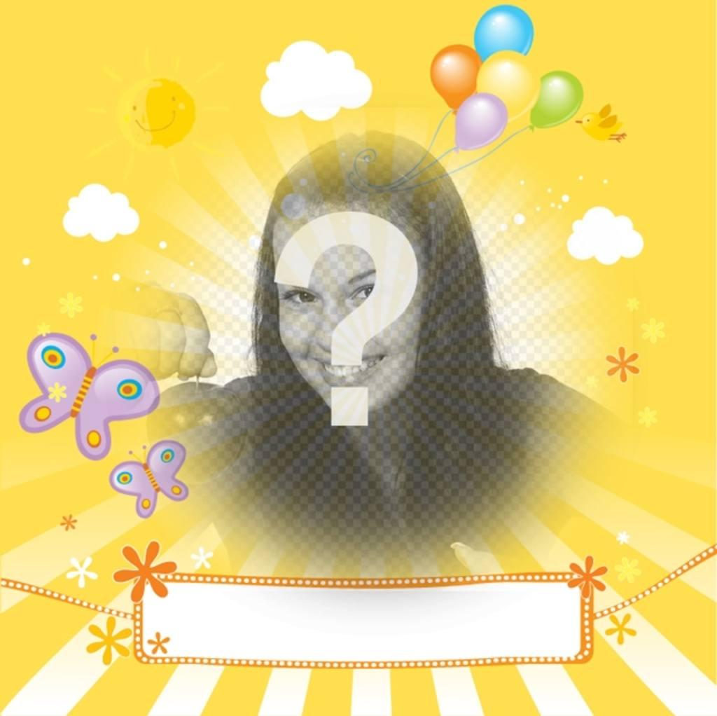 Postal infantil con foto personalizada y texto para felicitar a tus amigos y familiares en ocasiones especiales como cumpleaños, día de la madre o día del padre