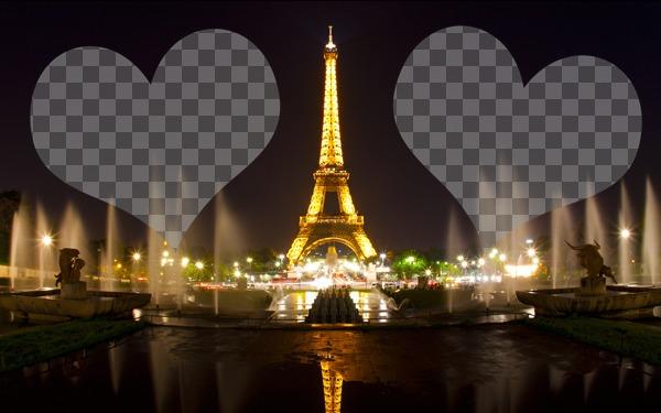 Fotomontaje con la Torre Eiffel iluminada en París y dos corazones donde colocar tus fotos