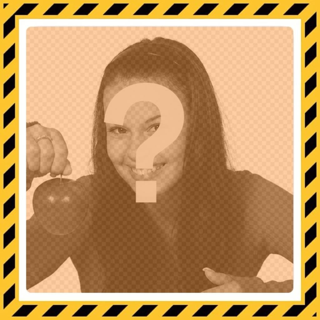 Marco para fotos amarillo y negro estilo de peligro con un filtro ...