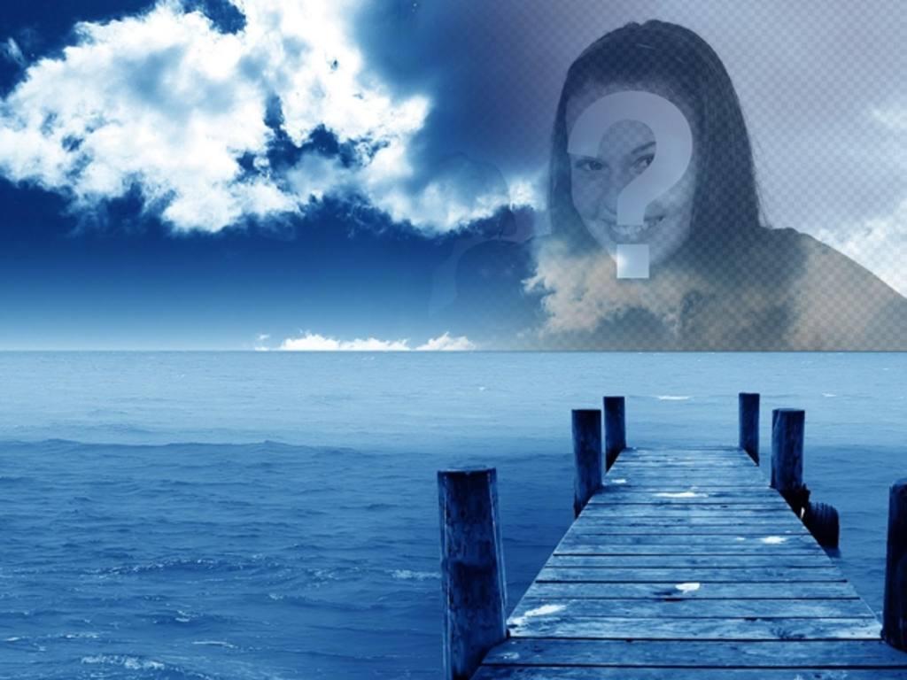 fotomontaje crear collages foto cielo foto un embarcadero mar