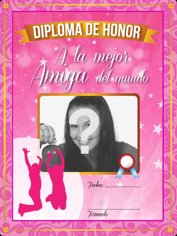Diploma rosa a la mejor amiga del mundo con estrellas y destellos para poner una foto online