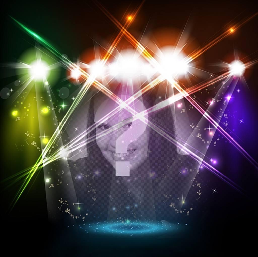 Fotomontaje de escenario músical con luces de colores con tu foto
