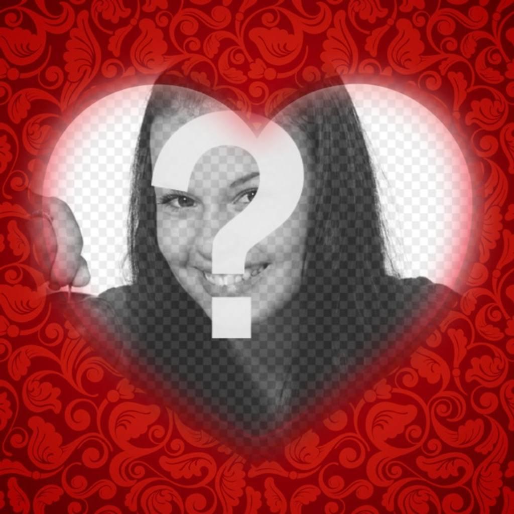Tarjeta romántica con un corazón para poner tu foto con un marco ...