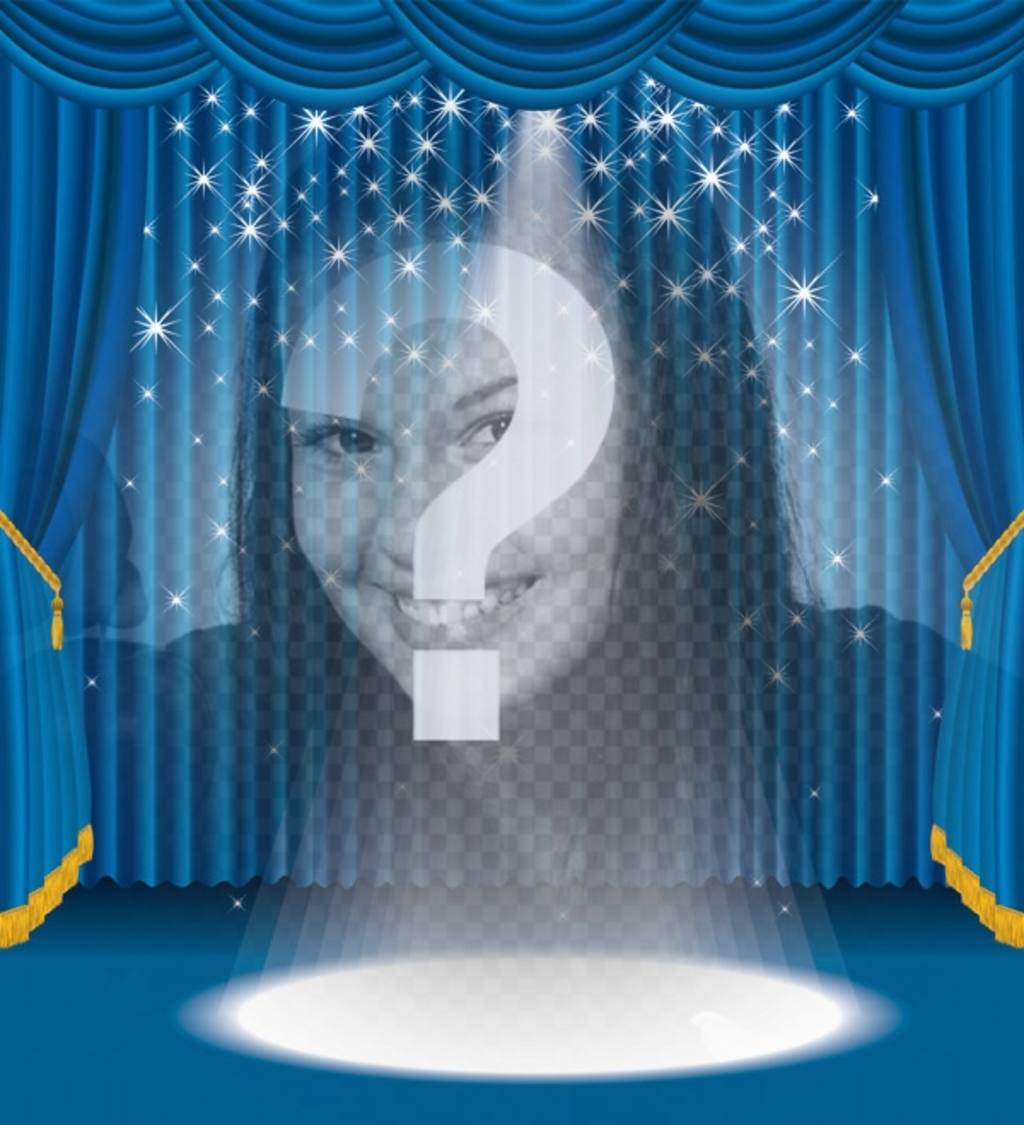 fotomontaje apareceras un escenario focos brillantes un telon azul