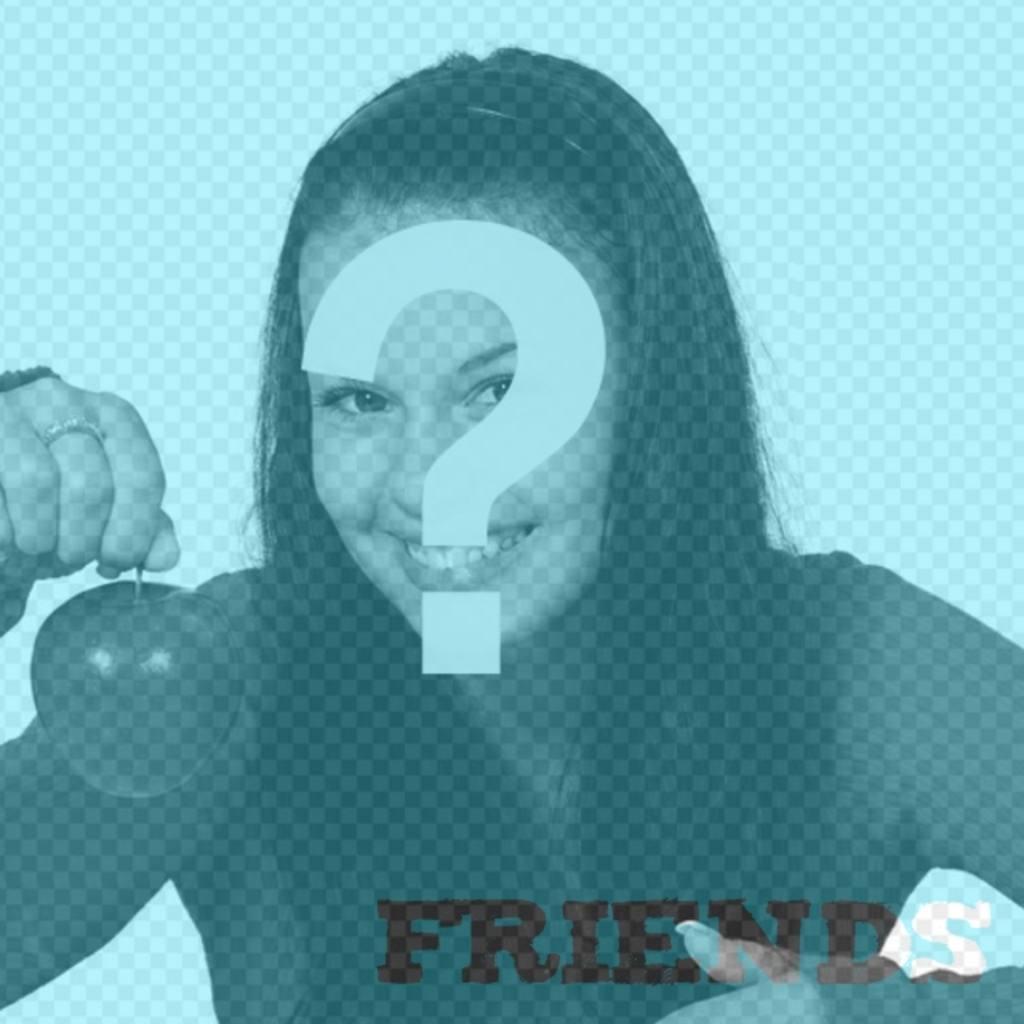 Filtro de fotos azul con el texto Friends en la parte inferior para editar tus fotografías