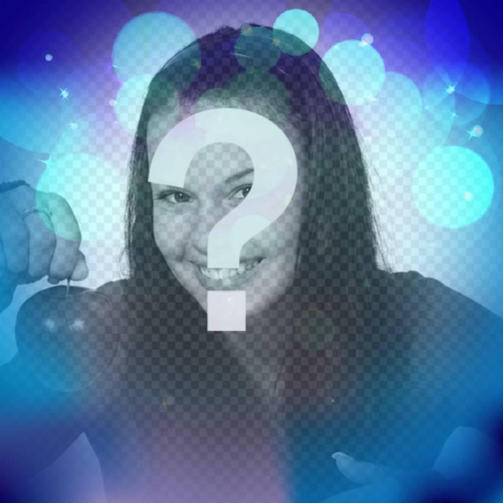 Filtro para fotos azul con destellos de luces turquesa brillantes en forma de círculos