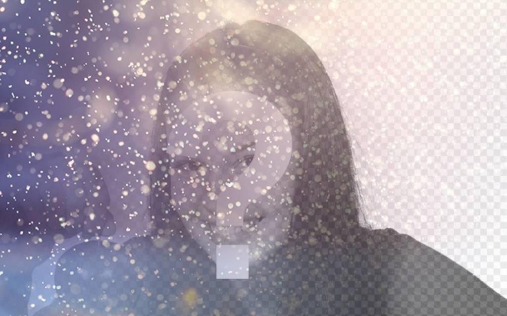 Filtro para editar fotos añadiendo purpurina brillante con un fondo azulado y lila