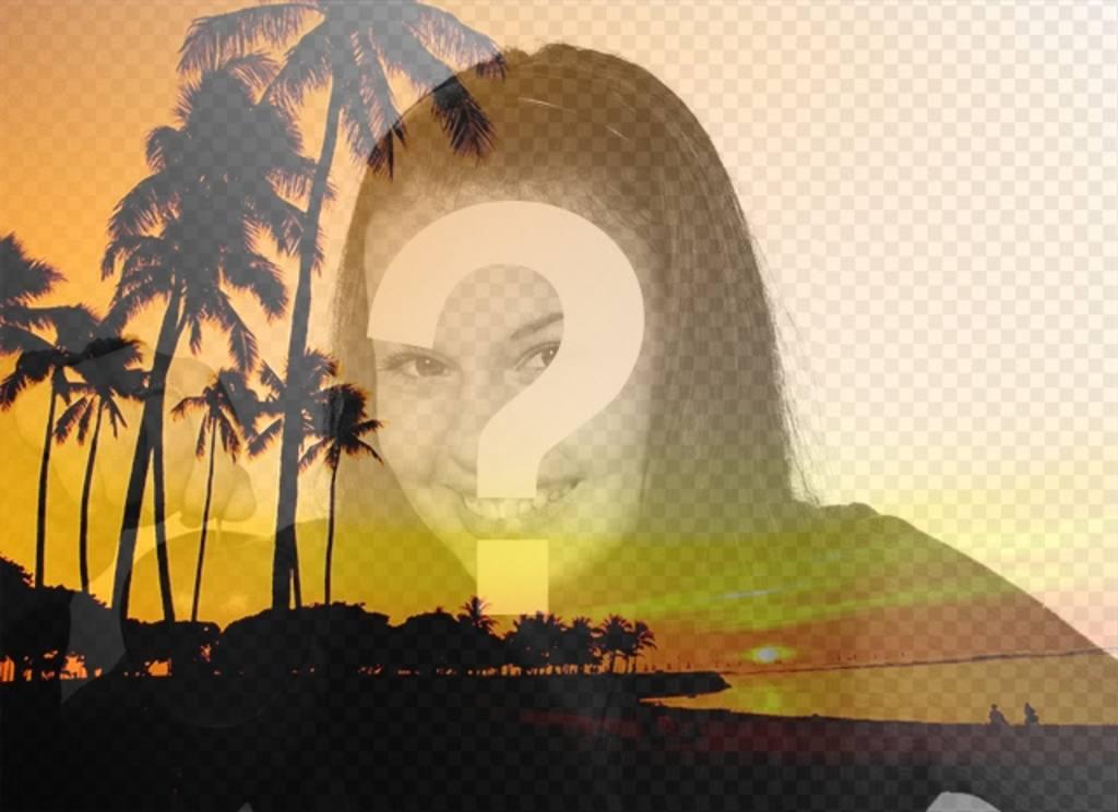crea un collage un paisaje veraniego playa palmeras tonos anaranjados foto online gratis